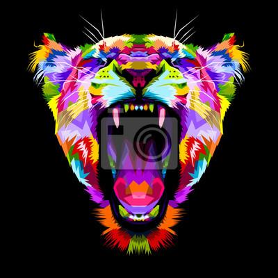 Obraz zły kolorowy lwów w stylu pop-artu
