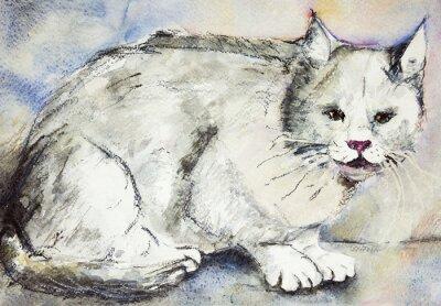 Obraz Zły szary kot. Technika wklepywanie pobliżu krawędzi daje miękką efekt ogniskowania w wyniku zmienionego chropowatość powierzchni papieru.
