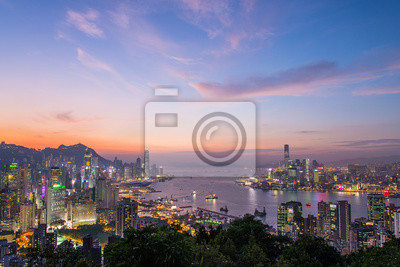 Zmierzch w Hong Kong cityscape Fome Braemar wzgórzu