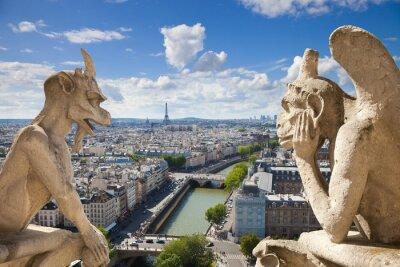 Znani gargulce z Notre Dame widokiem Paryż (compos)
