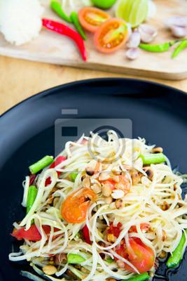 """Znani tajskie jedzenie, sałatka z papai lub co nazwaliśmy """"Somtum"""" w Tajlandii"""