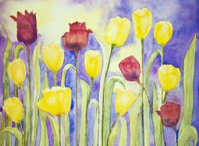 Obraz Żółte i czerwone tulipany na bzu i żółtym tle. Technika wklepywanie pobliżu krawędzi daje miękką efekt ogniskowania w wyniku zmienionego chropowatość powierzchni papieru.
