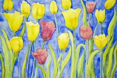 Obraz Żółte i czerwone tulipany na niebieskim tle. Technika wklepywanie pobliżu krawędzi daje miękką efekt ogniskowania w wyniku zmienionego chropowatość powierzchni papieru.