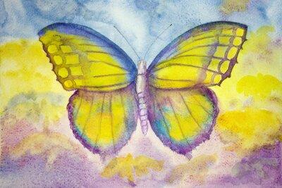 Obraz Żółty i niebieski motyl. Technika wklepywanie daje miękką efekt ogniskowania w wyniku zmienionego chropowatość powierzchni papieru.