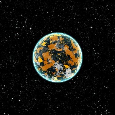 Obraz Żółty planety w przestrzeni kosmicznej