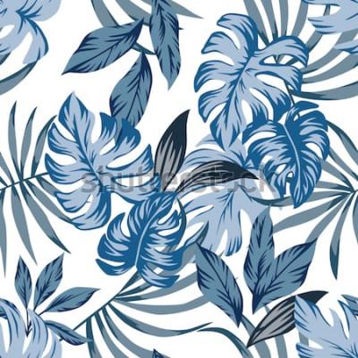 Obraz Zwrotnik egzotycznych palm pozostawia bez szwu wektor wzór w modnym niebieskim stylu vintage. Drukuje ilustrację natury mody maluje kwiecistą dżungli tapetę na białym tle