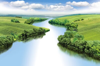 Obraz Zygzak rzeka przepływa pomiędzy dolinami letnich kolor ilustracji