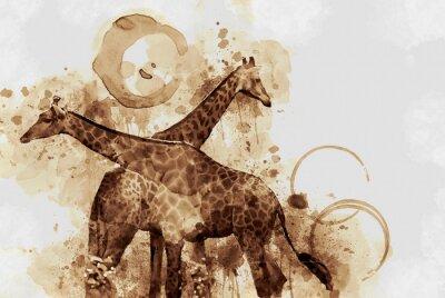 Obraz Żyrafa. Digital Art Coffee plamy z dysz.