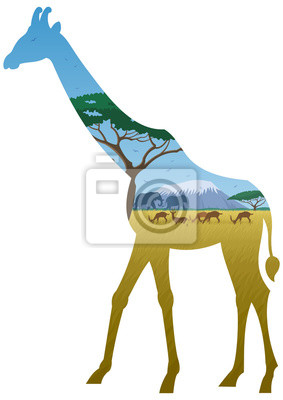 Obraz Żyrafa Krajobraz / afrykańskiego krajobrazu sylwetka żyrafy. Nie przejrzystości używane. Podstawowe (liniowy) gradienty stosowane.