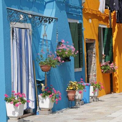 Obraz żywe malowane domy w miejscowości Burano, Wenecja