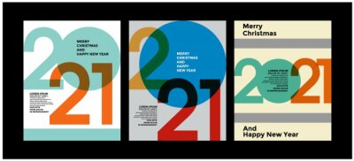 2021 Colorful set of Happy New Year posters. Abstract design with typography style. Vector logo 2021 for celebration and season decoration, backgrounds for branding, banner, cover, card and more.