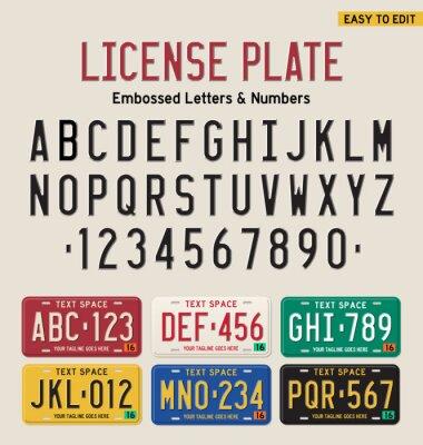 Plakat 3D czcionki tablice rejestracyjne i tablice rejestracyjne zestaw