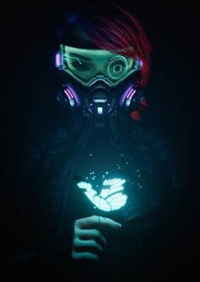 Plakat 3d illustration of a cyberpunk girl in futuristic gas mask with protective green glasses and filters in jacket looking at the glowing butterfly landed on her finger in a night scene with air pollution