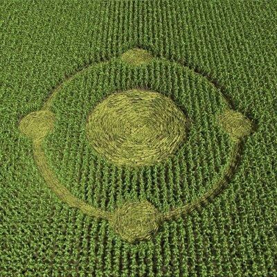 Plakat 3d ilustracją kręgu zbożowego