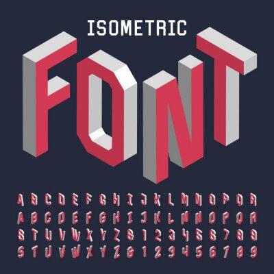 Plakat 3d izometrycznej wektorowych czcionek alfabetu. Izometryczny litery, cyfry i symbole. Trójwymiarowy wektor stock typografii dla gazet, plakaty itd.