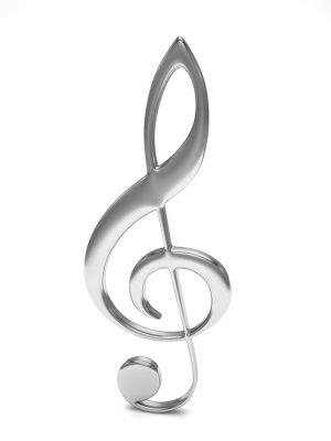 Plakat 3d klucz wiolinowy na białym
