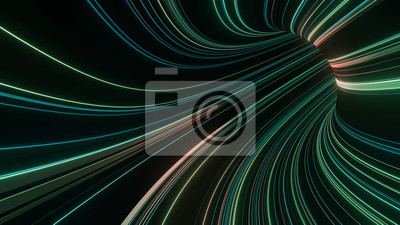 3D Rendering of abstract fast moving stripe lines with glowing green light flare. High speed motion blur. Concept of leading in business, Hi tech products, warp speed wormhole science.