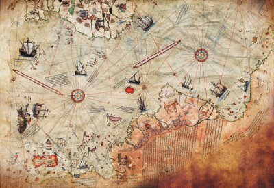 Plakat 3D Wallpaper design with an old ship of piri reis map for mural print