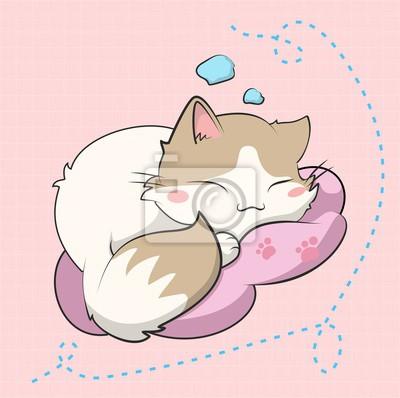 Plakat A cute cat sleeping, este gatito esta inspirado en un sticker
