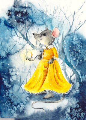 Plakat A mouse with a lantern in a yellow dress. Watercolor hand drawn illustration