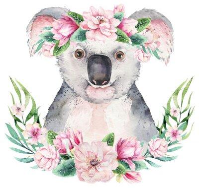 Plakat A poster with a koala. Watercolor cartoon koala tropical animal illustration. Jungle exotic summer print.