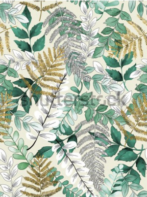 Plakat A seamless representation of watercolor leaves on a yellow background