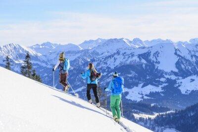 Plakat A tourers narciarskie grupa przed Traumkulisse Allgäu Alpy