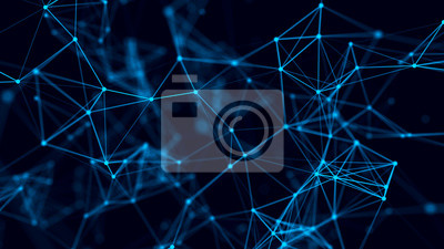 Abstract background with connecting dots and lines. Distribution of triangular shapes in space. Big data. Network connection structure. 3D rendering