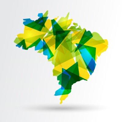 Plakat Abstract Brazil map