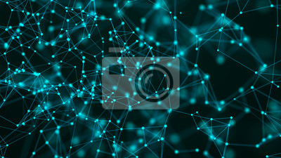 Abstract communication background with connecting dots and lines. Plexus effect. 3d