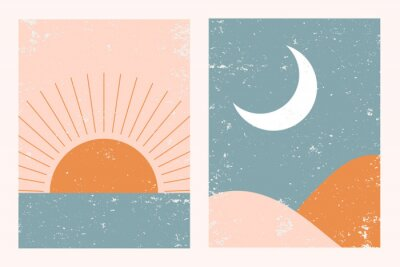 Plakat Abstract contemporary aesthetic background landscape set with Sun, Moon, sea, mountains. Earth tones, pastel colors. Boho wall decor. Mid century modern minimalist art print. Flat abstract design.