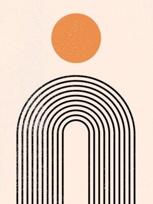 Plakat Abstract contemporary aesthetic background with geometric balance shapes, rainbow and sun. Black and gold. Boho wall decor. Mid century modern minimalist art print. Organic natural shape. Line art.