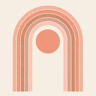 Plakat Abstract contemporary aesthetic background with Sun and geometric rainbow gates. Terracotta colors. Boho wall decor. Mid century modern minimalist art print. Organic natural shape. Magic concept.
