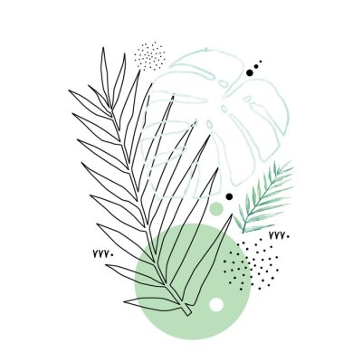 Plakat Abstract poster background minimal shapes, watercolor tropical leaf. Art print with doodles, line, blue texture. Tropical illustration for minimalism, hipster, scandinavian design, t-shirt print
