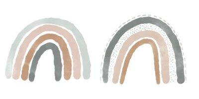 Plakat Abstract rainbows hand drawn illustration set. Arches decorative paper cut simple composition
