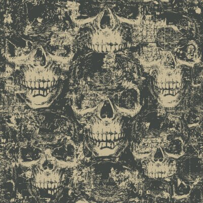 Plakat Abstract seamless pattern with hand-drawn skulls in grunge style. Dark vector background with ominous human skulls. Wallpaper, wrapping paper, fabric, graphic print for clothes or halloween party