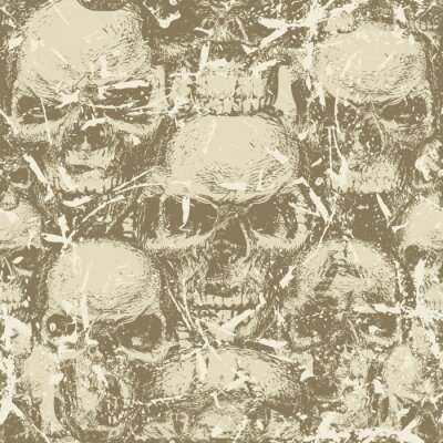 Abstract seamless pattern with human skulls in grunge style. Vector background with ominous skulls. Wallpaper, wrapping paper, fabric, graphic print for clothes, design for halloween party