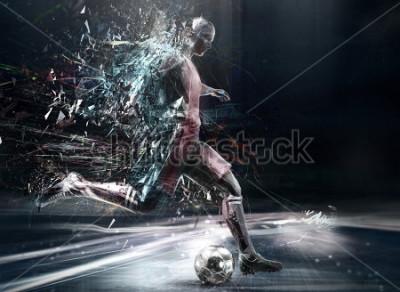 Plakat abstract soccer player; 3d illustration