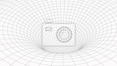 Abstract tunnel. Vector wormhole. 3D corridor mesh.