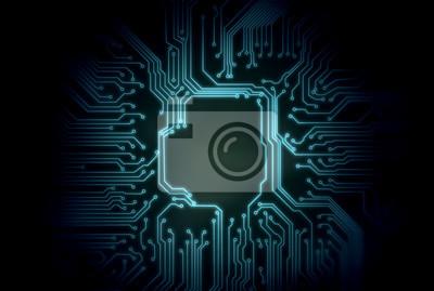 Abstrakcjonistyczny błękitny rozjarzony obwodu deski tło z kopii przestrzenią przy centrum dla twój teksta, loga lub produktów. Idealny do koncepcji sztucznej inteligencji, technologii i kryptowaluty.