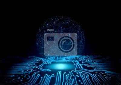 Abstrakcjonistyczny technologii tło. perspektywa płytka drukowana ze świecącą energią w centrum i drucianej siatce globalnej kuli jako abstrakcyjna koncepcja komunikacji, ai, sci fi lub waluty kryptog