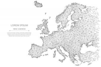 Plakat Abstrakcyjna linii mash i punkt mapa Europy na białym tle z napisem. Gwiaździste niebo lub przestrzeń, składające się z gwiazd i wszechświata. Ilustracji wektorowych na? Wiecie