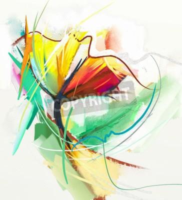 Plakat Abstrakcyjna obraz olejny wiosennych kwiatów. Martwa natura żółtego i czerwonego koloru flowe. Streszczenie Nowoczesny impresjonista. Malarstwo Kwiatowe. Kwiatowe Malarstwo dekoracyjne