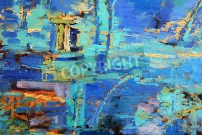 Plakat Abstrakcyjny obraz olejny z przewagą błękitów