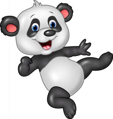 Plakat Adorable Baby Panda na białym tle
