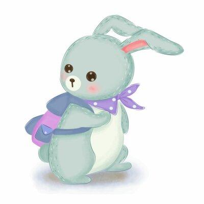 Plakat adorable blue bunny illustration for nursery decoration