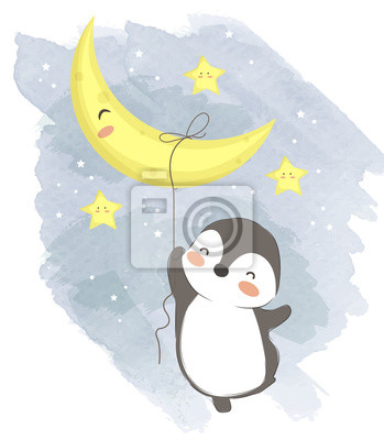 Plakat adorable penguin illustration for personal project,background, invitation, wallpaper and many more