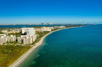 aerial drone view  Key Biscayne beach with downtown Miami skyline in the back