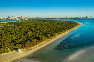 aerial drone view of Crandon Park beach in Key Biscayne with downtown Miami skyline in the back