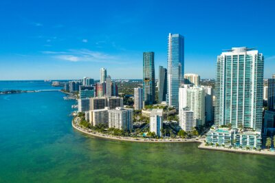 aerial drone view of downtown Miami skyline in the Brickell area